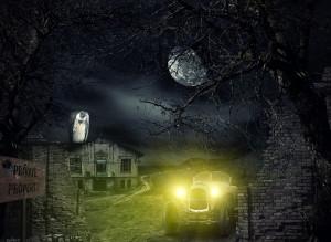 Creepy car with halogen headlights